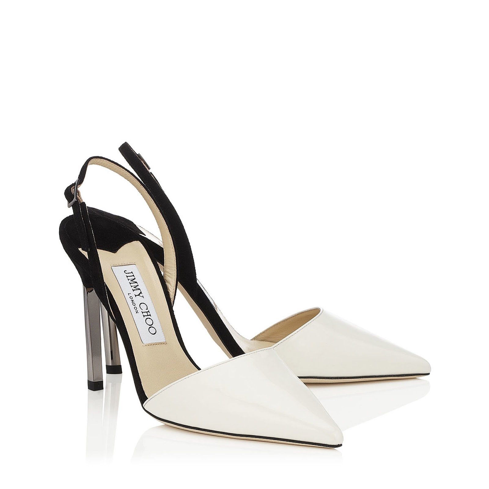9fa466e1e5b JIMMY CHOO DAVLEEN OFF WHITE PATENT & BLACK SUEDE - Reed Fashion Blog