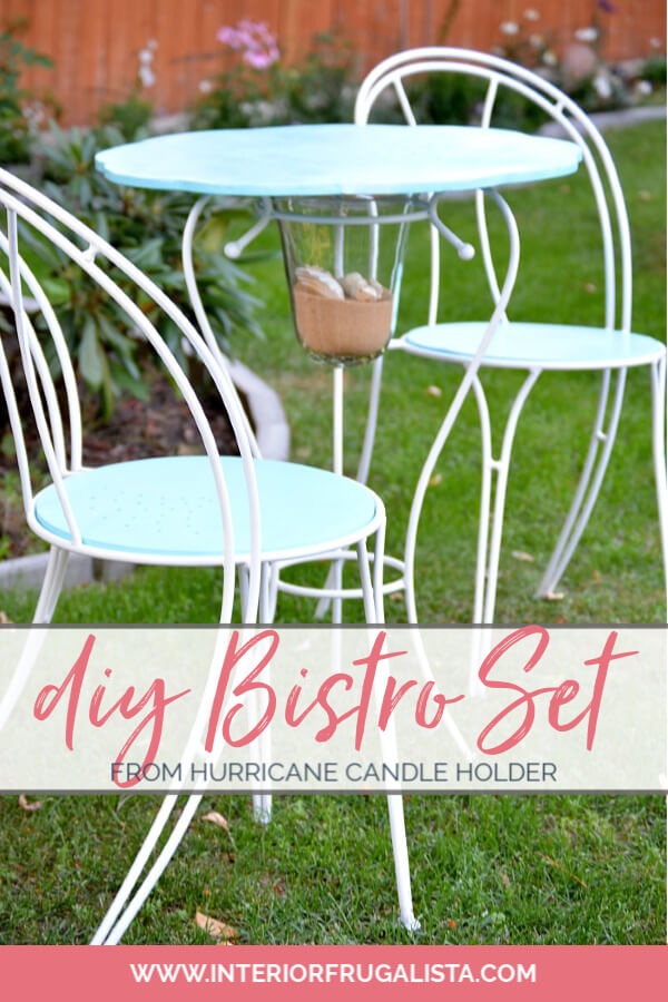 How to turn a hurricane candle holder with metal base and thrift store cafe chairs into a unique one-of-a-kind Coastal Bistro Dining Set for summer. #bistroset #diyfurniture #repurposedfurniture