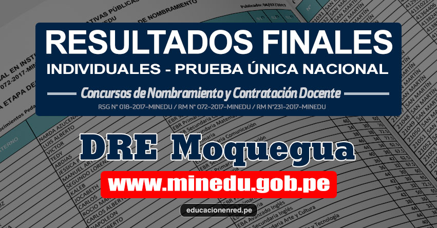 DRE Moquegua: Resultado Final Individual Prueba Única Nacional y Relación de Postulantes Habilitados para Etapa Descentralizada Nombramiento Docente 2017 - MINEDU - www.dremoquegua.gob.pe