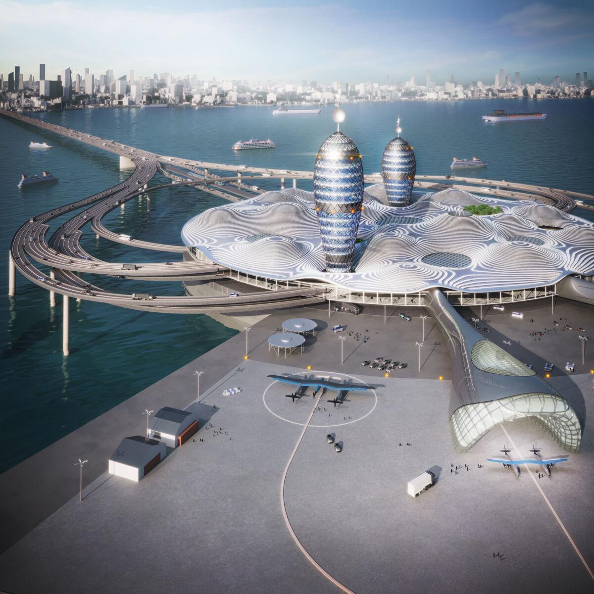 شاهد بالصور.. ميناء فضائي مستقبلي، بأربعة طوابق، ويطفو بالقرب من خليج طوكيو
