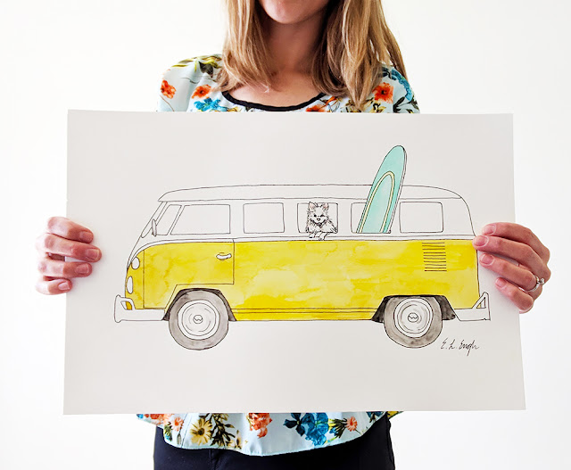 Original Watercolor VW Van Illustration by Elise Engh