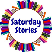 Text stating Saturday Stories with a circle of books surrounding it