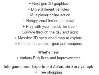 Experiment Z Zombie Survival modded details