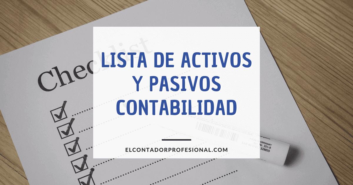 lista de activos y pasivos contabilidad
