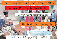 Health Department Recruitment 2017 for Lab Technician, Dental Assistant Post