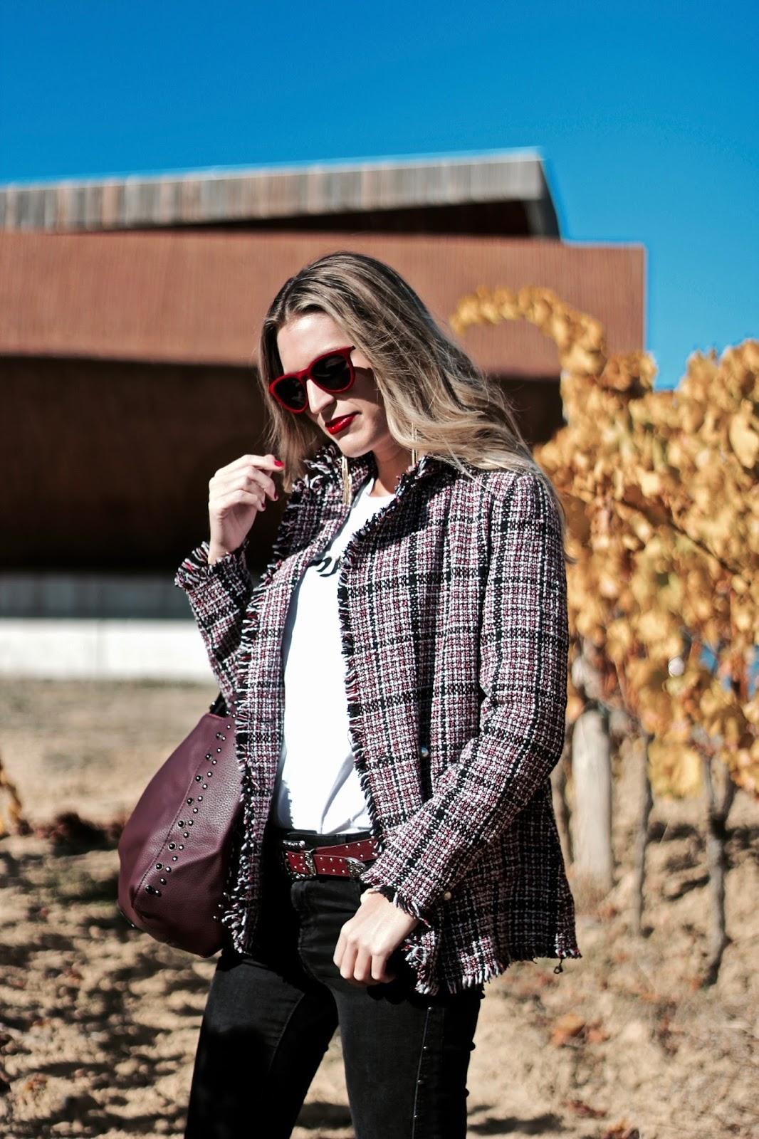 chaqueta de tweed otoño