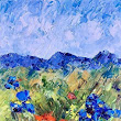 "Palette Knife Colorado Landscape Painting ""Flowers on the Trail"" by Judith Babcock Colorado Artist"