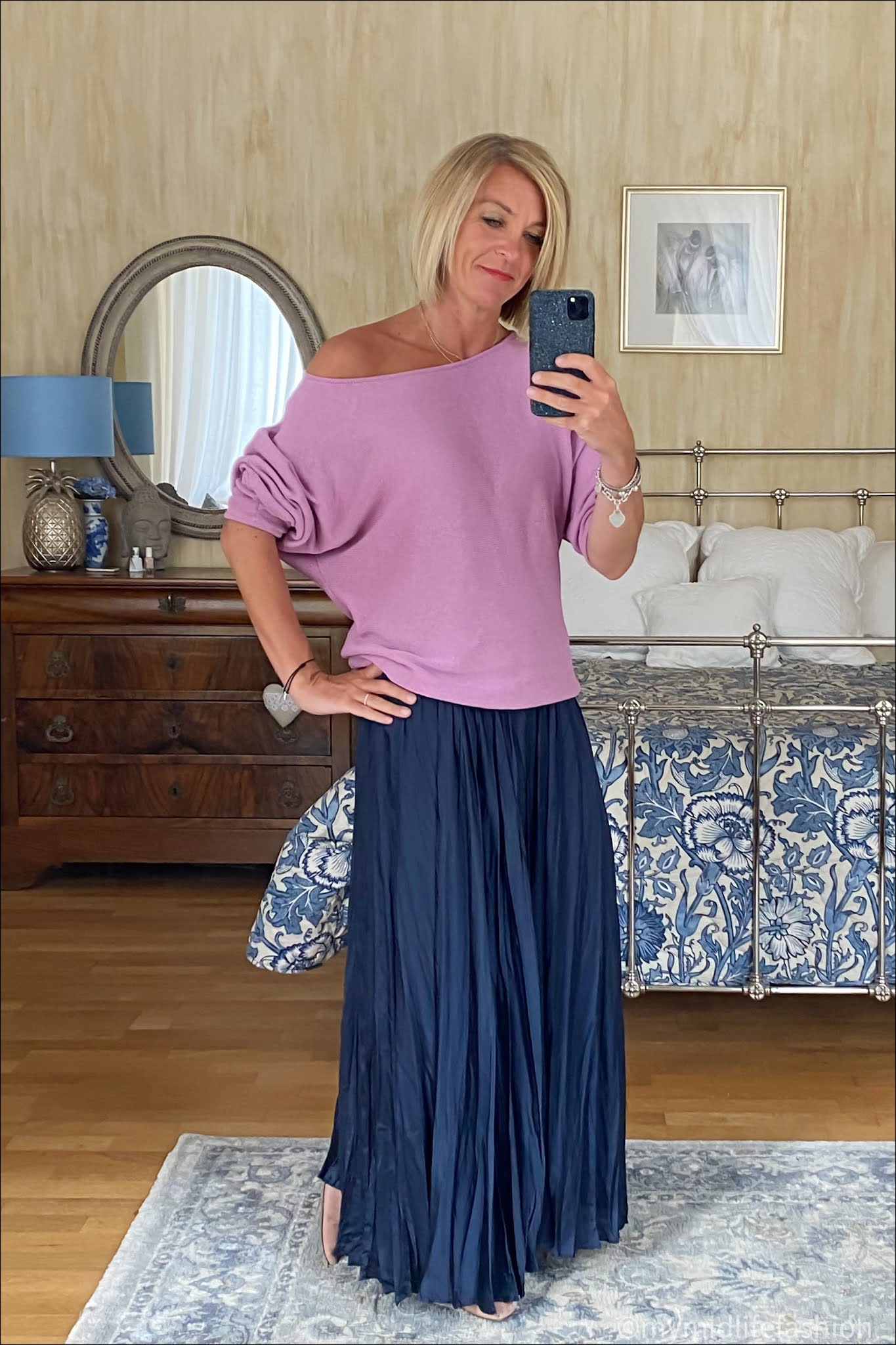 my midlife fashion, Baukjen Eddie recycled cotton jumper, Zara satin maxi skirt, h and m suede cut out pointed ballet flats