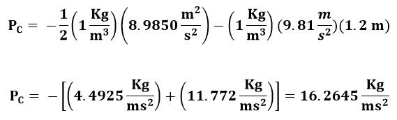 Cálculo de presión en el punto C del ejemplo 2