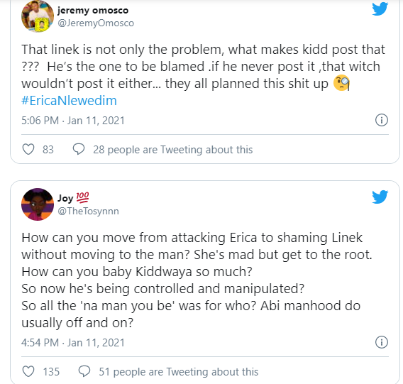 Erica's fans slams Kiddwaya and his manager Linek and accuses them of playing Erica