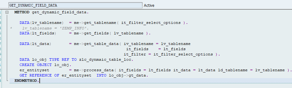 SAP ABAP Central: Dynamic table data read and odata binding