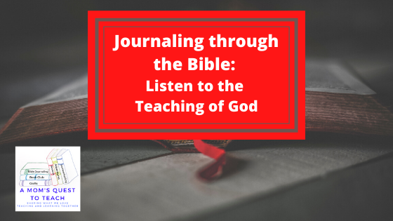 A Mom's Quest to Teach Logo; Bible background