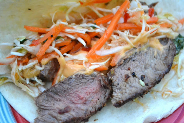 Grilled Steak Tacos with Sweet Chili Slaw