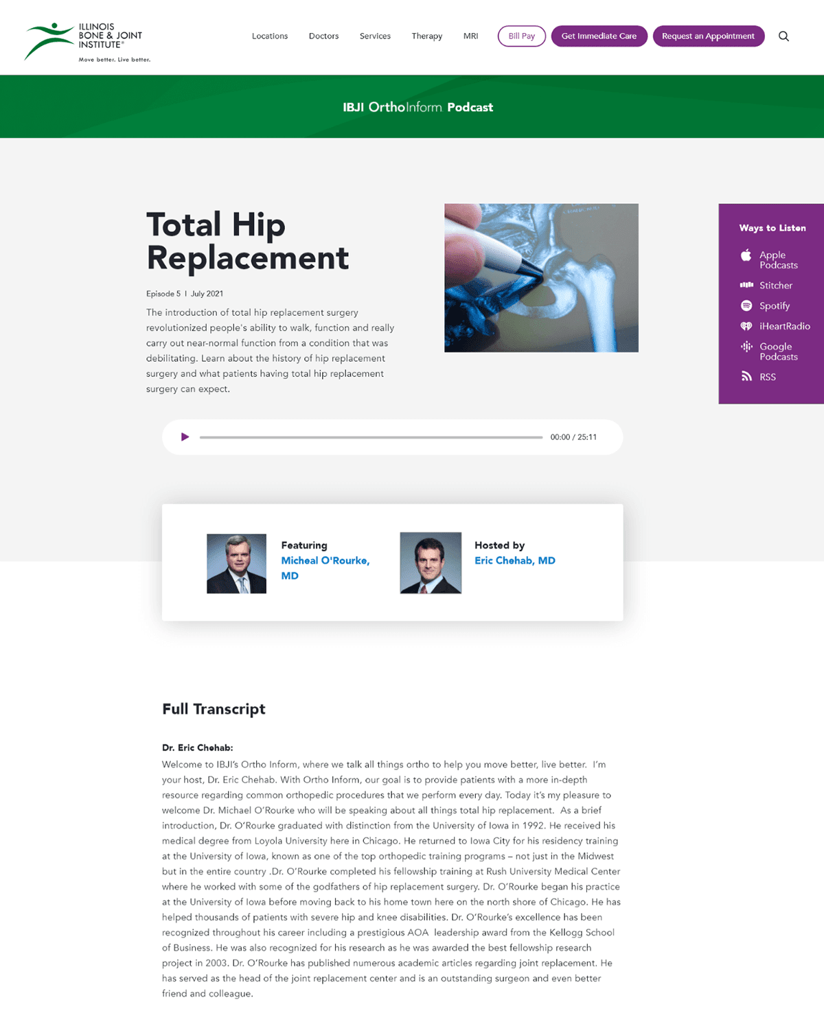 website podcast example: OrthoInform