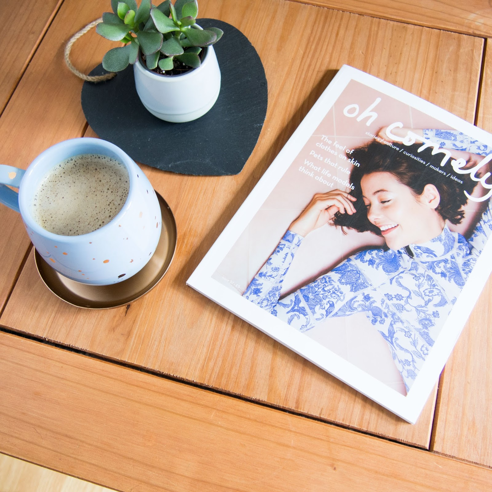 Coffee Table, Oh Comely, TK Maxx Mug, Succulent, Katie Writes Blog, Katie Writes,