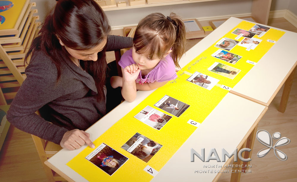 NAMC Montessori history timelines lower elementary. teacher and child looking at picture