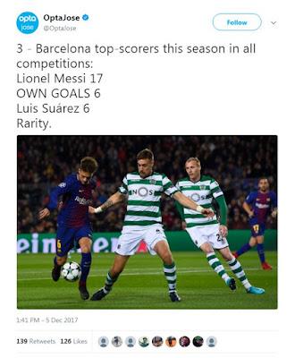 Gol Bunuh Diri Jadi Top Skor Kedua Barcelona