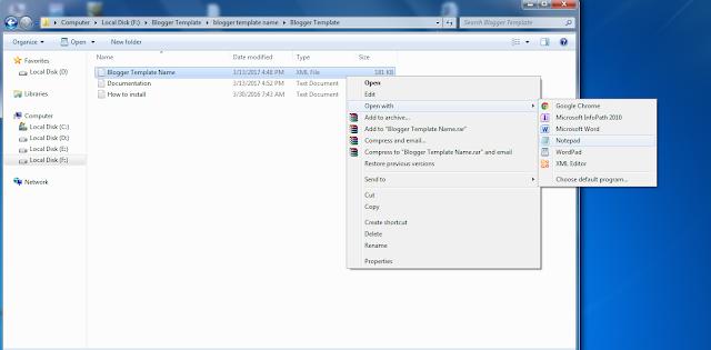 Membuka File Template Blog di Notepad