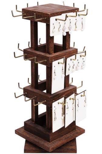 #WDJ5036 Natural Wood Rotating 36 Hooks Jewelry Tower