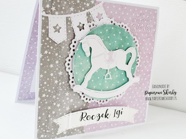 Karteczka na roczek z konikiem na biegunach