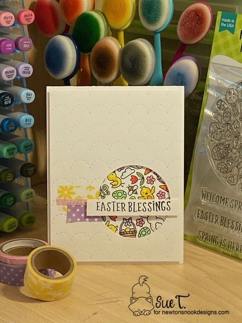Easter Blessings by Sue T. features Spring Roundabout by Newton's Nook Designs; #inkypaws, #newtonsnook, #eastercard, #springcard, #cardmaking