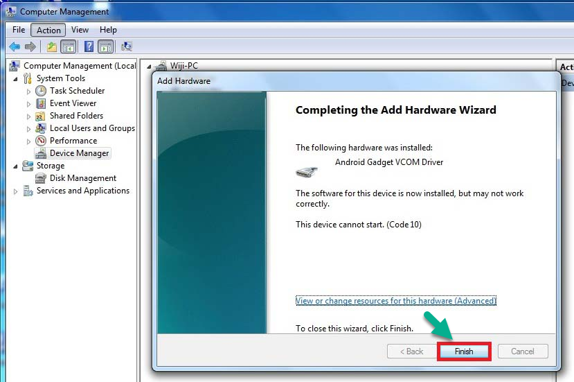 Install Android VCOM CDC Driver Windows Computer