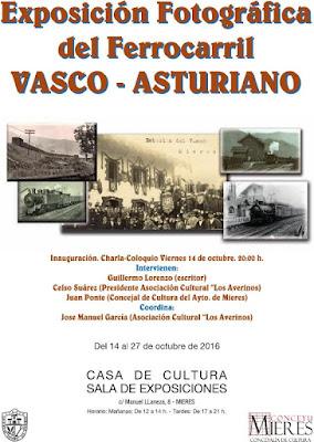 Cartel Exposición fotográfica del Ferrocarril Vasco-Asturiano en Mieres