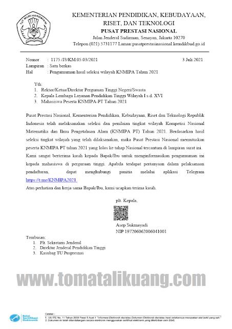hasil seleksi kn mipa pt tingkat wilayah regional tahun 2021 pusat prestasi nasional tomatalikuang.com