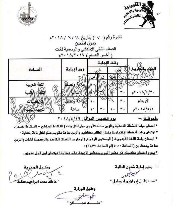 جدول امتحانات الصف الثاني الابتدائي 2018 الترم الثاني محافظة القليوبية