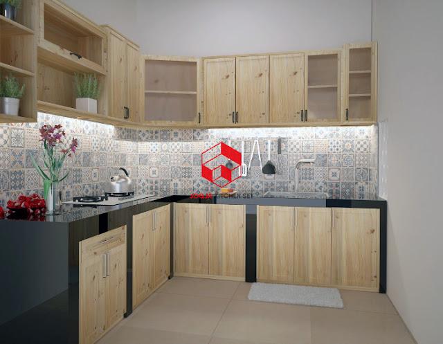 Model kitchen set minimalis dari jati Belanda, sumber ini.
