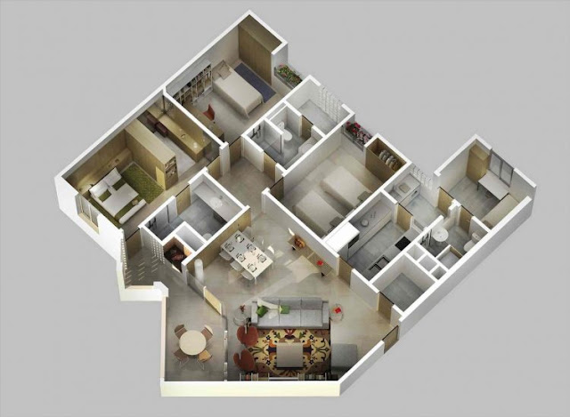 house plan 3 rooms lengthwise