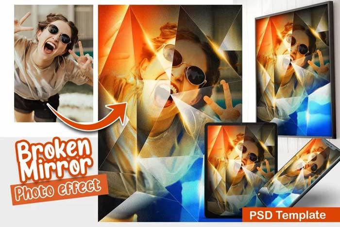 Broken Mirror PSD Photo Template