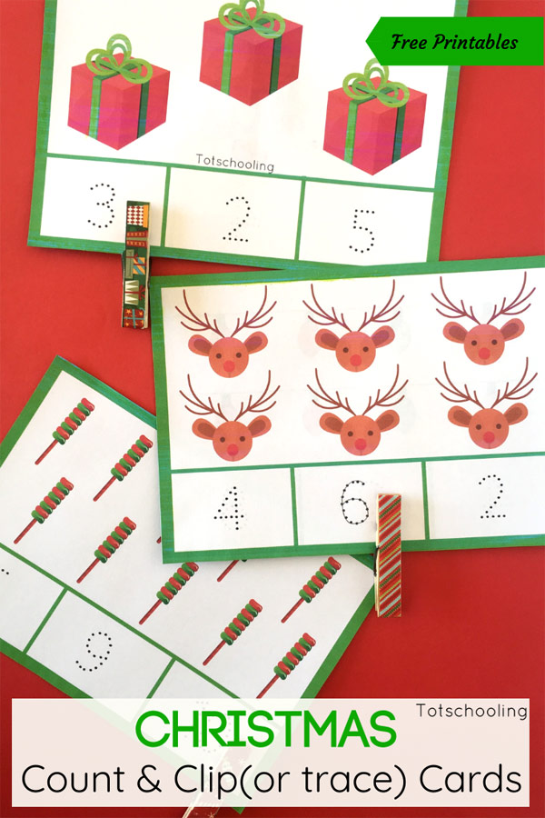 FREE printable Christmas themed counting cards to trace and clip. Great way to practice counting and number recognition this Holiday season with your preschoolers!