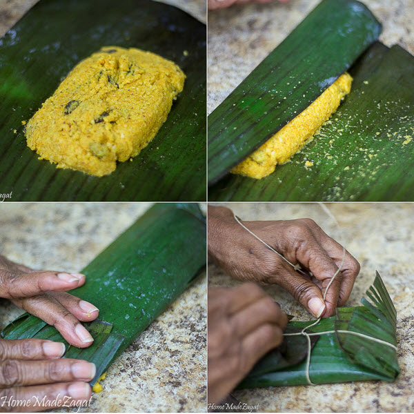 Steps for wrapping paime in banana leaf