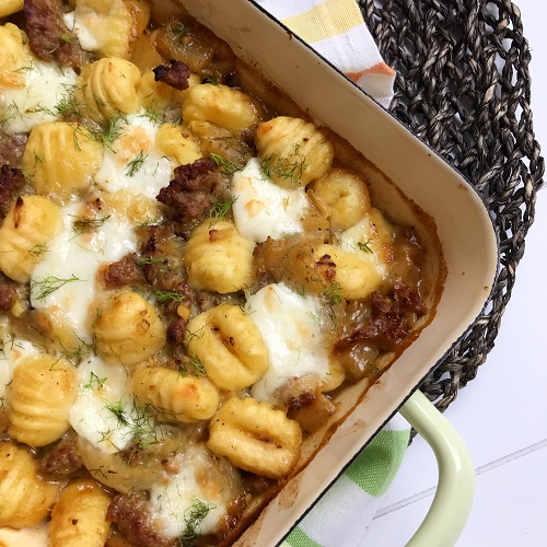 Gnocchi-Auflauf mit Hack, Fenchel und Mozzarella