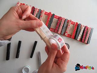 24 mollette di legno con i washi tape a tema natale