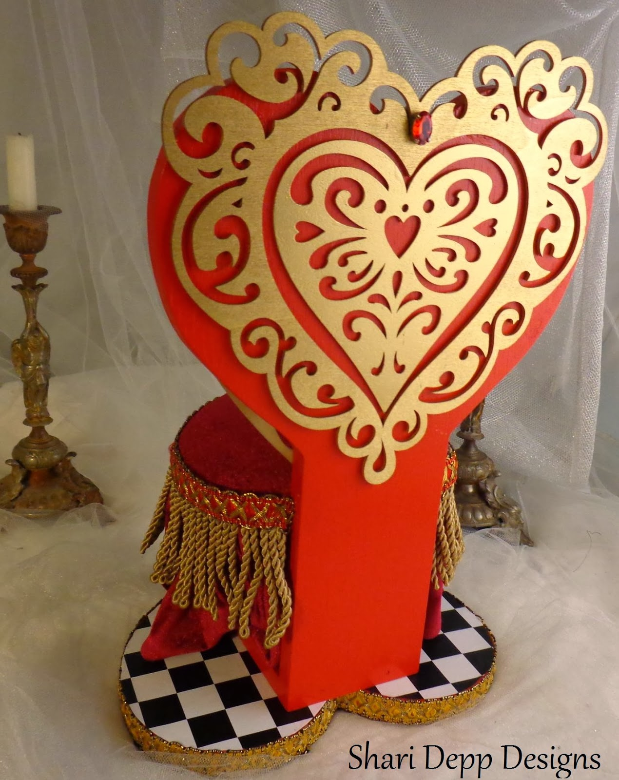 high chair for dolls hand shari depp designs: new one of a kind red art nouveau style gown set & queen hearts