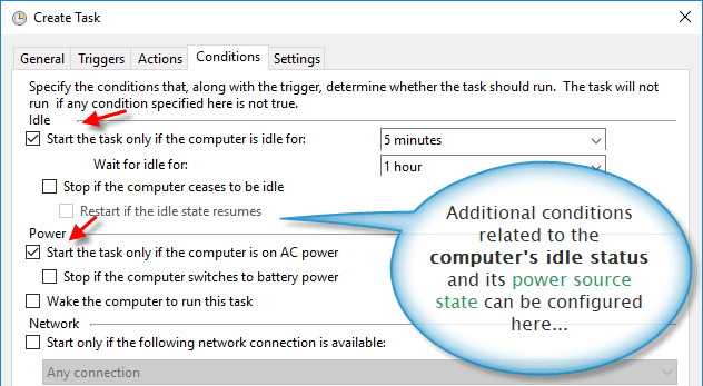 Additional trigger conditions for the custom task