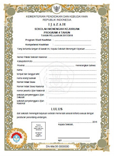 Contoh Juknis Penulisan Ijazah SMK 2017 2018