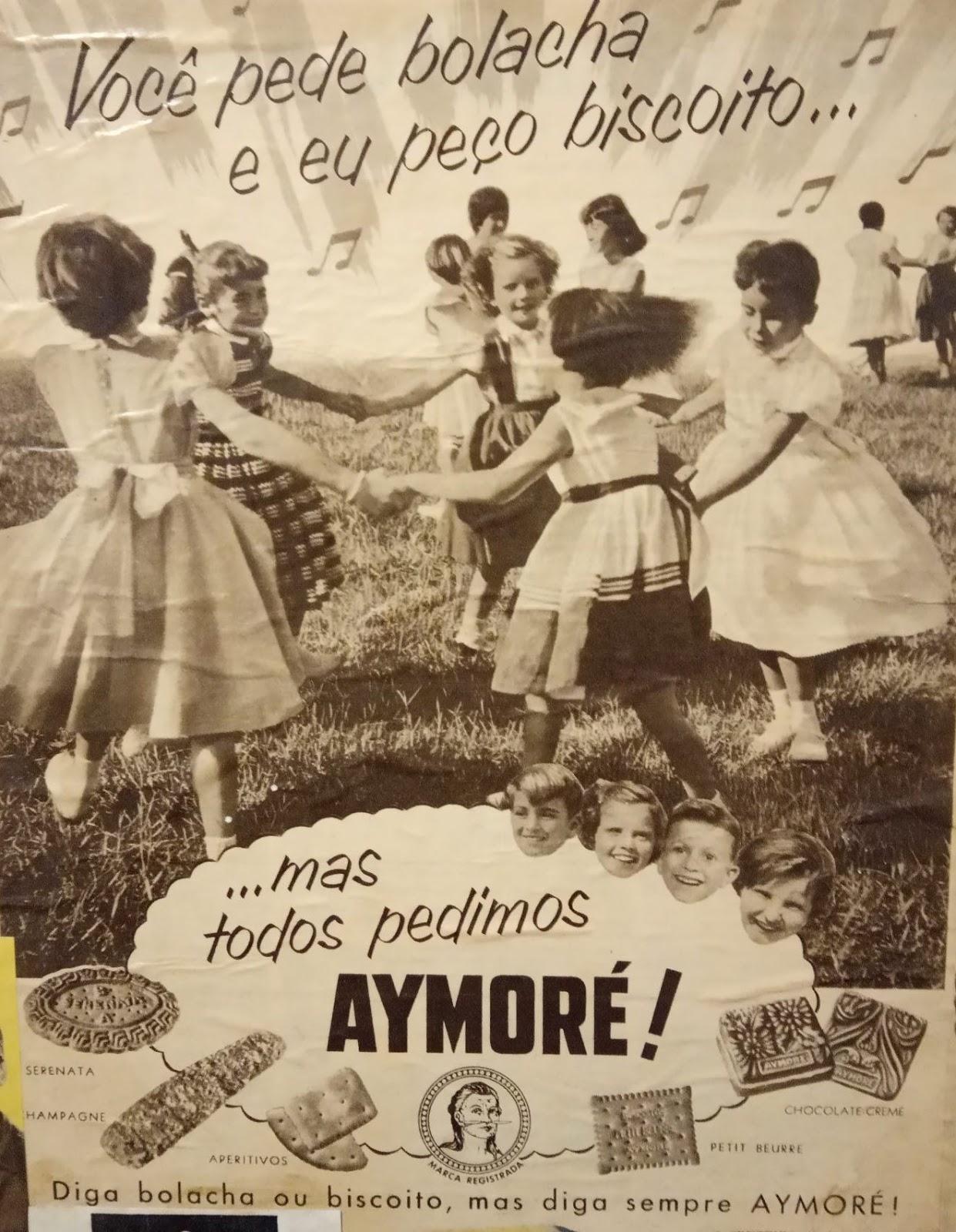 Propaganda antiga da Aymoré veiculada em 1956 com a polêmica bolacha ou biscoito