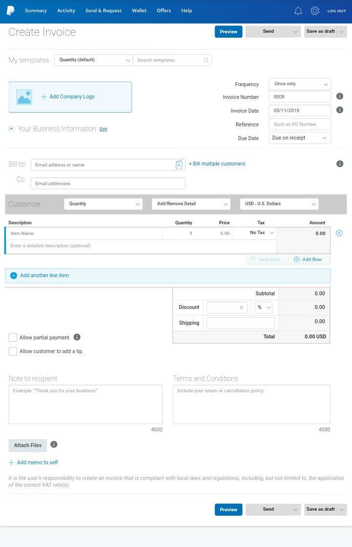 Create PayPal invoice