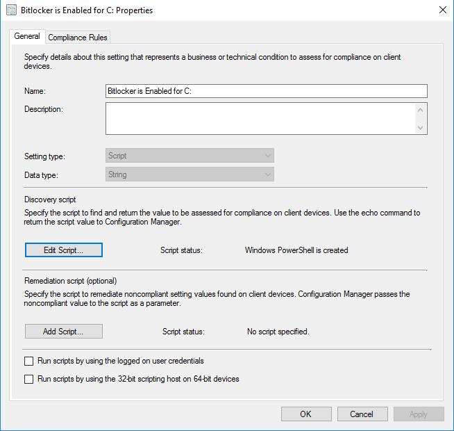 Shep's IT Solutions: SCCM Compliance Item Bitlocker Status