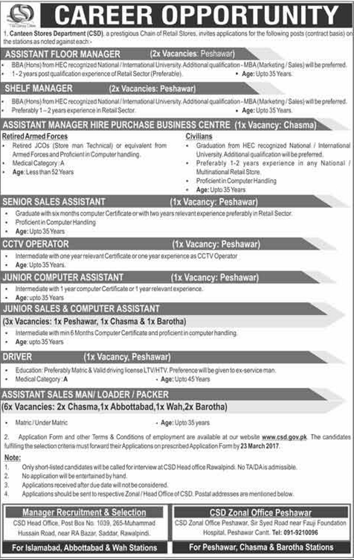 Canteen Stores Department Jobs In Rawalpindi And Peshawar