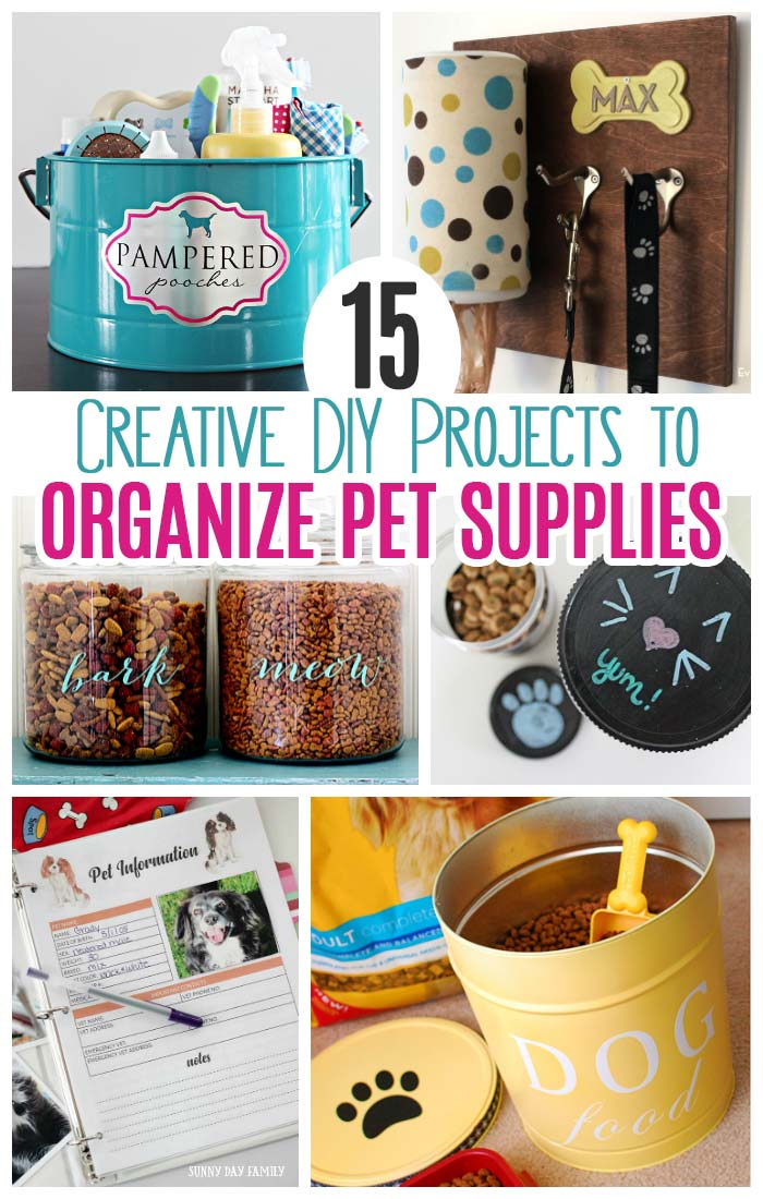 Got pet clutter? Get organized with these awesome DIY pet supply organizer projects! Make a homemade treat jar, DIY pet food container, pet command center, pet records organizer and more. Perfect for cats and dogs! #dogs #cats #DIY #pets