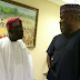 Photo: Bukola Saraki and Bola Tinubu at the presidential dinner for National Assembly members