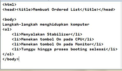Membuat List dalam HTML: Ordered List dan Unordered List