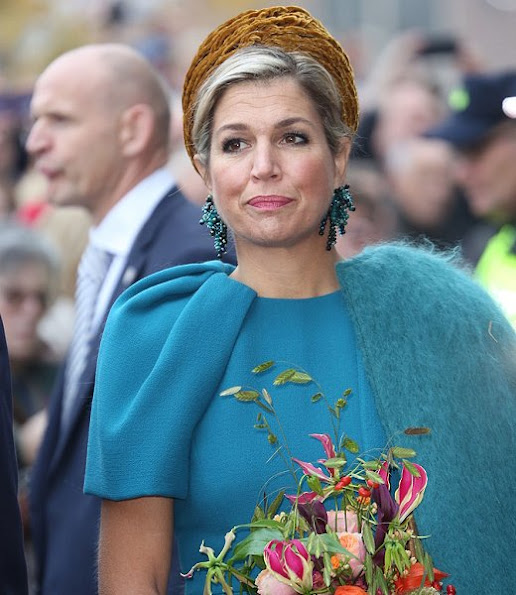Queen Maxima wore Natan Dress and Gianvito Rossi Suede Pumps, Natan Earrings