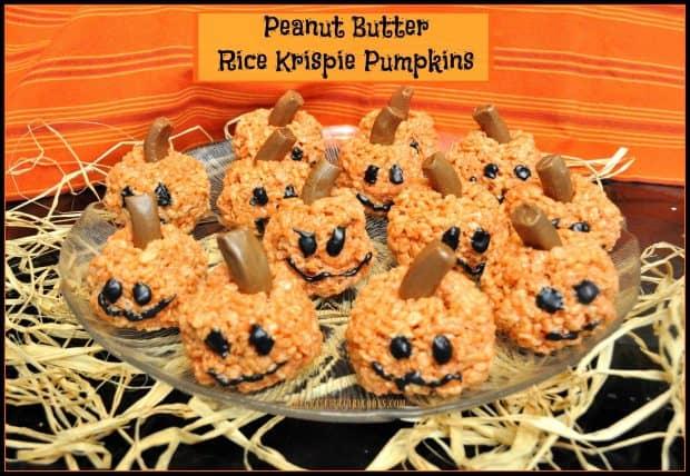 peanut butter rice krispie pumpkins