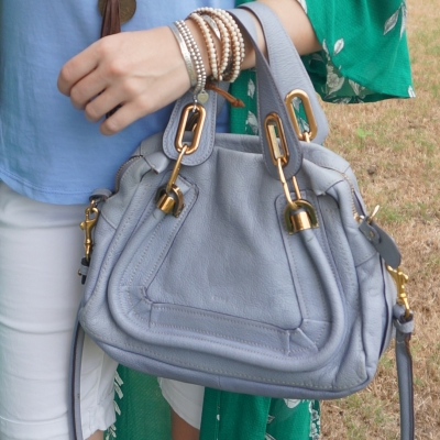 Chloe periwinkle small Paraty worn on arm | awayfromtheblue