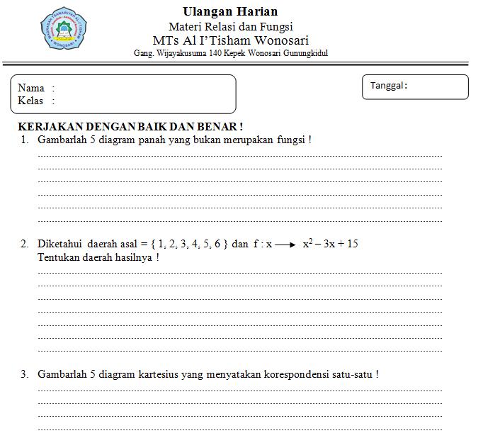 Etnikamor soal ulangan harian relasi dan fungsi kelas 8 kurikulum soal ulangan harian relasi dan fungsi kelas 8 kurikulum 2013 revisi ccuart Images